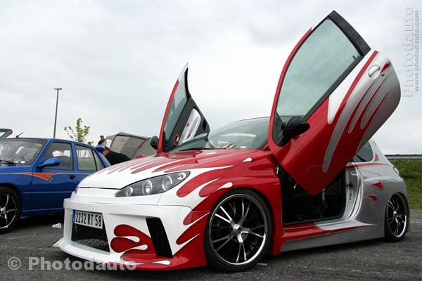 Peugeot 206 Rouge Blanche Photo Voiture Tuning